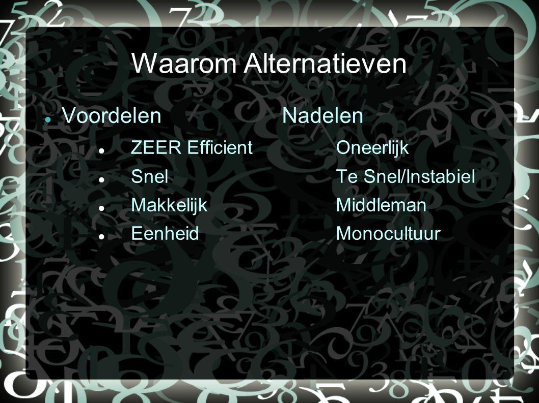 Waarom Alternatieven Voordelen ZEER Efficient Snel Makkelijk Eenheid Nadelen Oneerlijk Te Snel/Instabiel Middleman Monocultuur