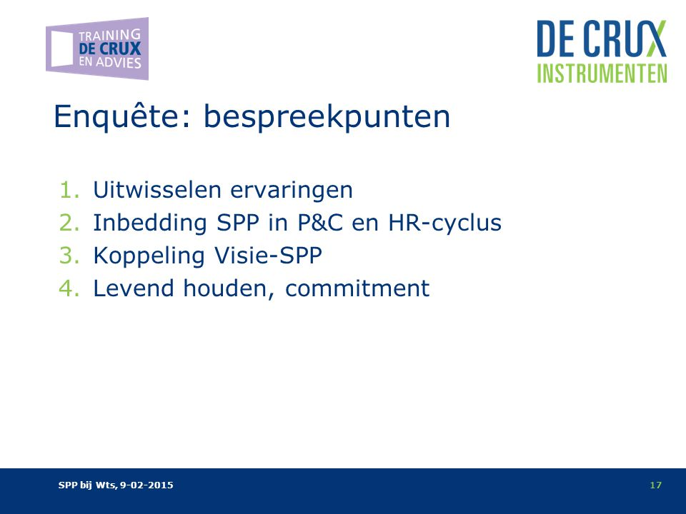 Enquête: bespreekpunten 1.Uitwisselen ervaringen 2.Inbedding SPP in P&C en HR-cyclus 3.Koppeling Visie-SPP 4.Levend houden, commitment SPP bij Wts, 9-02-201517