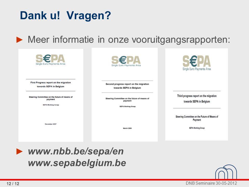 DNB Seminaire 30-05-2012 12 / 12 Dank u. Vragen.