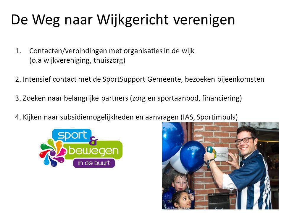 1.Contacten/verbindingen met organisaties in de wijk (o.a wijkvereniging, thuiszorg) 2. Intensief contact met de SportSupport Gemeente, bezoeken bijee