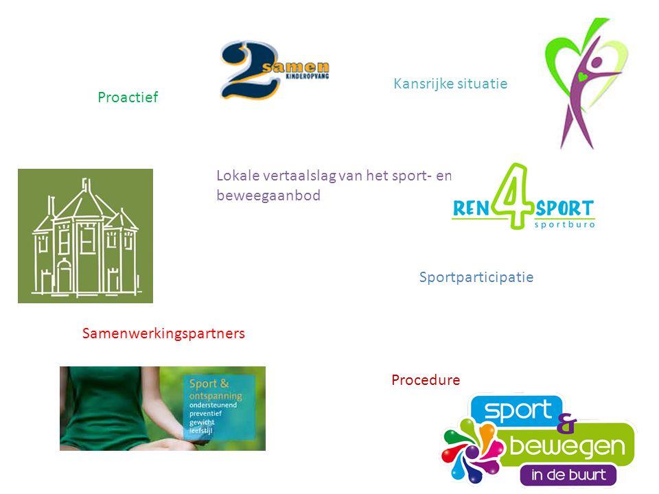 Proactief Kansrijke situatie Sportparticipatie Samenwerkingspartners Lokale vertaalslag van het sport- en beweegaanbod Procedure