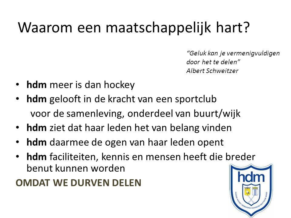 Waarom een maatschappelijk hart? hdm meer is dan hockey hdm gelooft in de kracht van een sportclub voor de samenleving, onderdeel van buurt/wijk hdm z