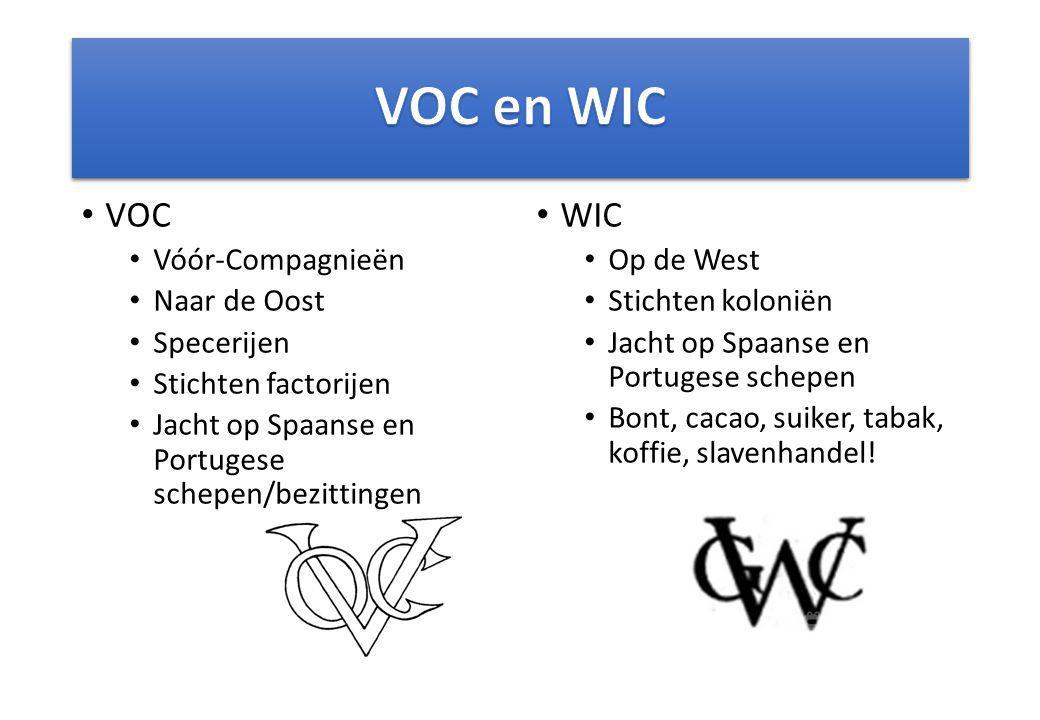 VOC Vóór-Compagnieën Naar de Oost Specerijen Stichten factorijen Jacht op Spaanse en Portugese schepen/bezittingen WIC Op de West Stichten koloniën Ja