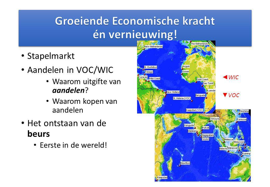 Stapelmarkt Aandelen in VOC/WIC Waarom uitgifte van aandelen? Waarom kopen van aandelen Het ontstaan van de beurs Eerste in de wereld! ◄ WIC ▼ VOC