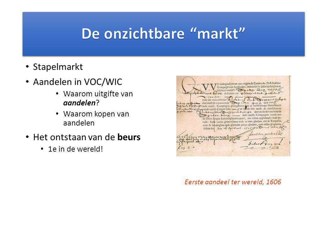 Stapelmarkt Aandelen in VOC/WIC Waarom uitgifte van aandelen? Waarom kopen van aandelen Het ontstaan van de beurs 1e in de wereld! Eerste aandeel ter