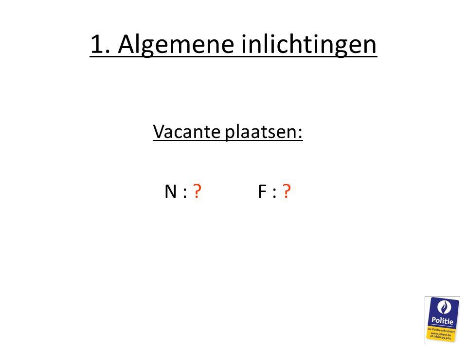 1. Algemene inlichtingen Vacante plaatsen: N : ?F : ?