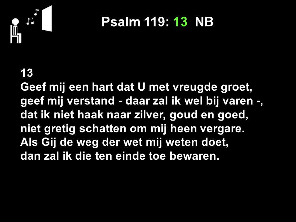 Psalm 119: 13 NB 13 Geef mij een hart dat U met vreugde groet, geef mij verstand - daar zal ik wel bij varen -, dat ik niet haak naar zilver, goud en goed, niet gretig schatten om mij heen vergare.