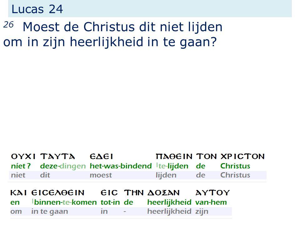 Lucas 24 26 Moest de Christus dit niet lijden om in zijn heerlijkheid in te gaan?