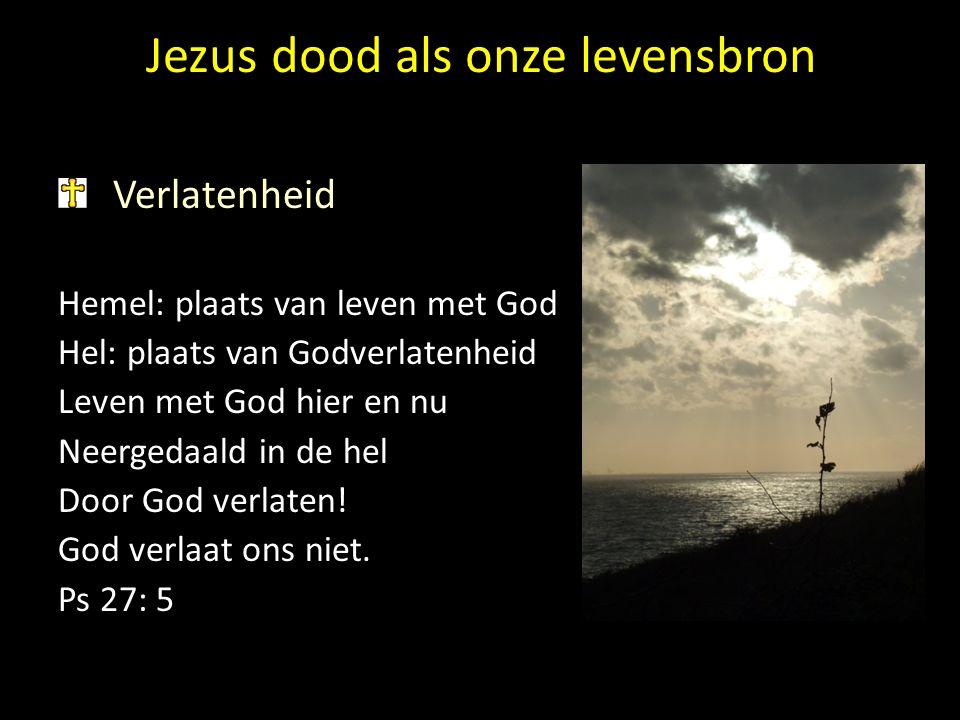 Jezus dood als onze levensbron Verlatenheid Hemel: plaats van leven met God Hel: plaats van Godverlatenheid Leven met God hier en nu Neergedaald in de