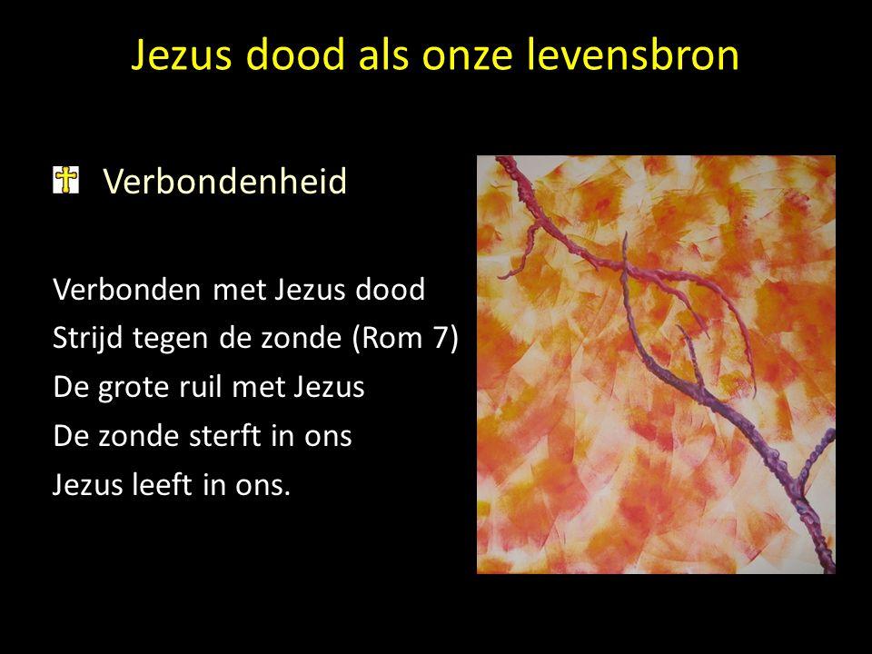 Jezus dood als onze levensbron Verbondenheid Verbonden met Jezus dood Strijd tegen de zonde (Rom 7) De grote ruil met Jezus De zonde sterft in ons Jez