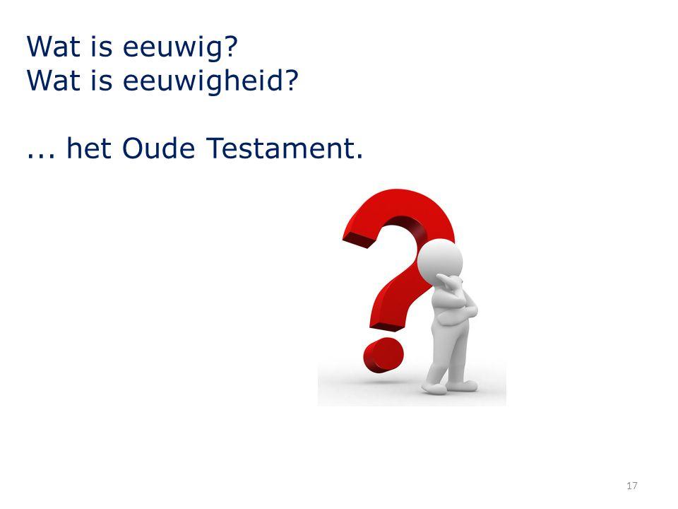 Wat is eeuwig? Wat is eeuwigheid?... het Oude Testament. 17