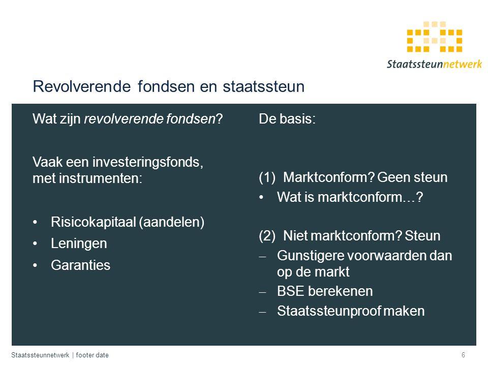 Staatssteunnetwerk | footer date Revolverende fondsen en staatssteun Wat zijn revolverende fondsen? Vaak een investeringsfonds, met instrumenten: Risi