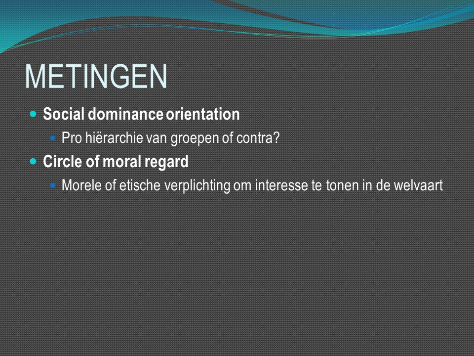 METINGEN Social dominance orientation Pro hiërarchie van groepen of contra? Circle of moral regard Morele of etische verplichting om interesse te tone