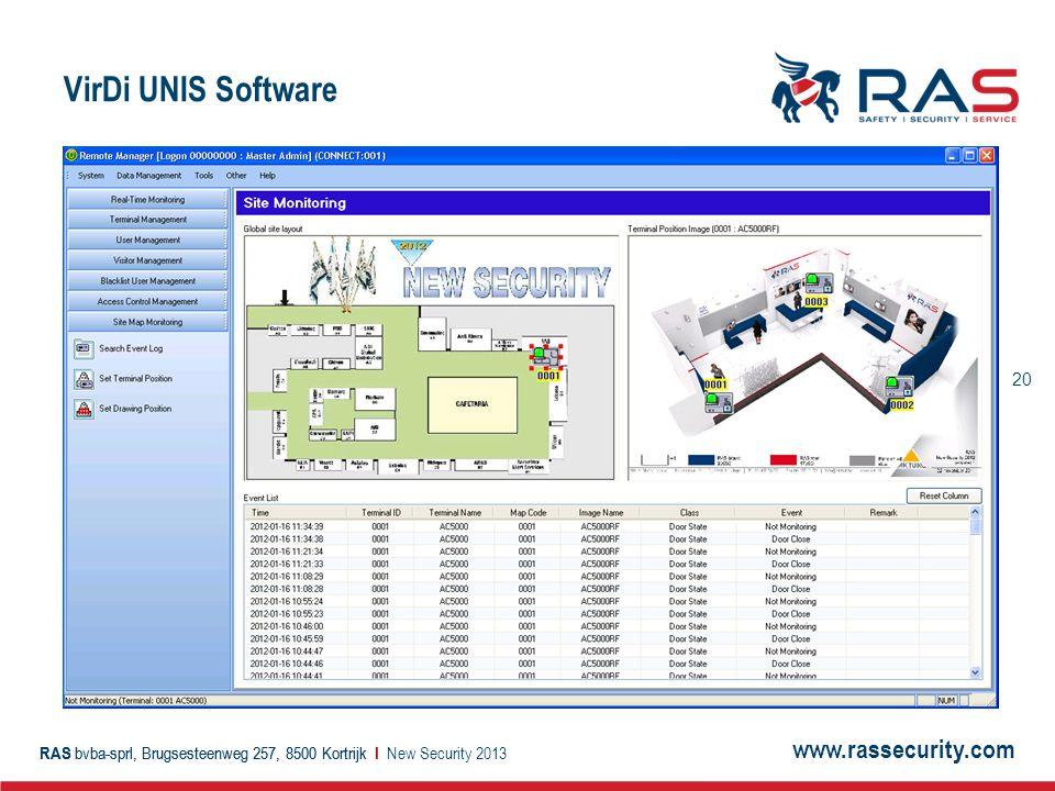 www.rassecurity.com RAS bvba-sprl, Brugsesteenweg 257, 8500 Kortrijk I 20 RAS bvba-sprl, Brugsesteenweg 257, 8500 Kortrijk I VirDi UNIS Software New Security 2013
