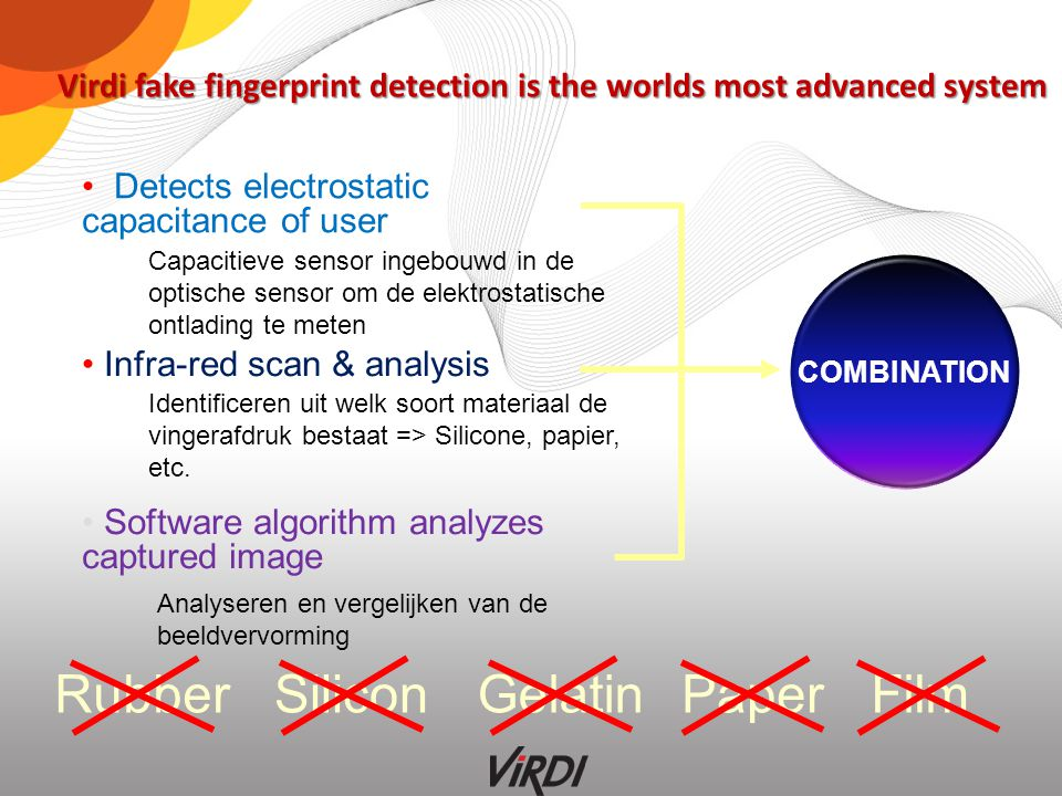 www.rassecurity.com Infra-red scan & analysis Detects electrostatic capacitance of user Software algorithm analyzes captured image COMBINATION Virdi f