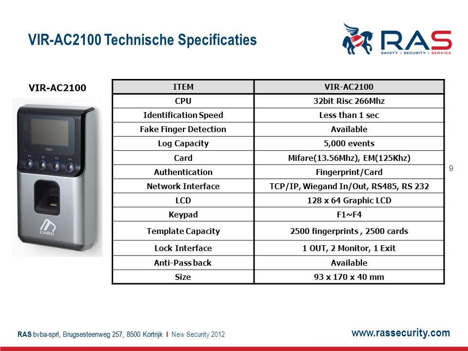 www.rassecurity.com RAS bvba-sprl, Brugsesteenweg 257, 8500 Kortrijk I 9 VIR-AC2100 Technische Specificaties New Security 2012 ITEMVIR-AC2100 CPU32bit