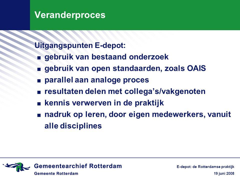 19 juni 2008 E-depot: de Rotterdamse praktijk Veranderproces Kennis verwerven in de praktijk = nadruk op leren.