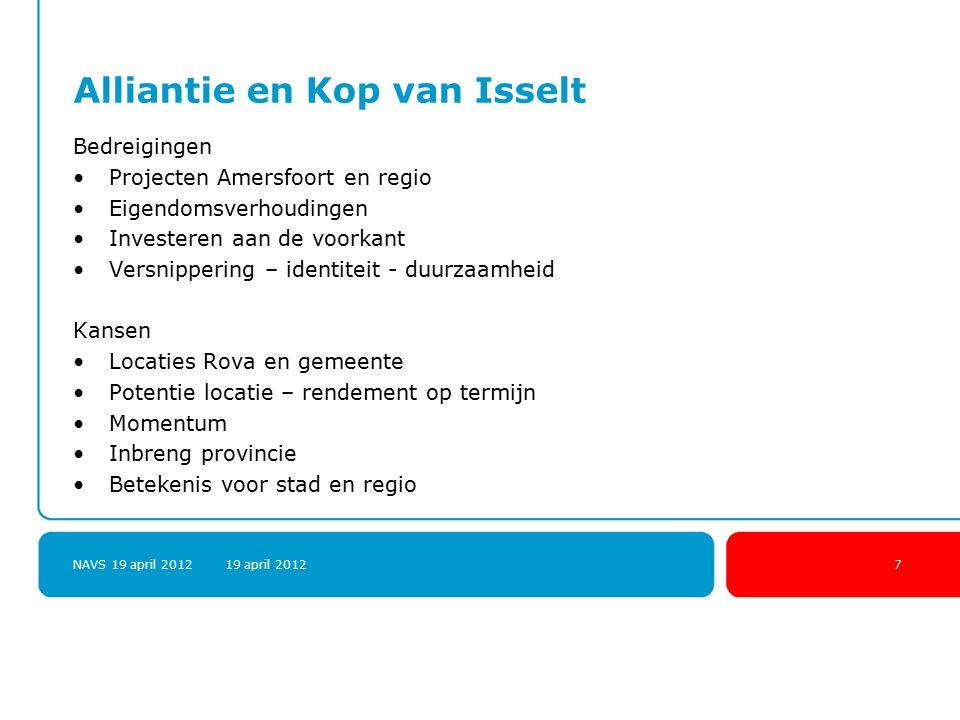 NAVS 19 april 2012 19 april 20127 Alliantie en Kop van Isselt Bedreigingen Projecten Amersfoort en regio Eigendomsverhoudingen Investeren aan de voork