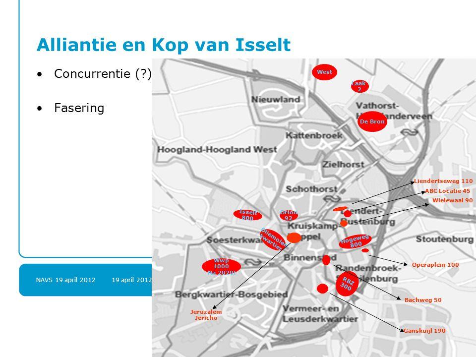 NAVS 19 april 2012 19 april 20128 Alliantie en Kop van Isselt Concurrentie (?) Fasering Wwp 1000 Na 2020.