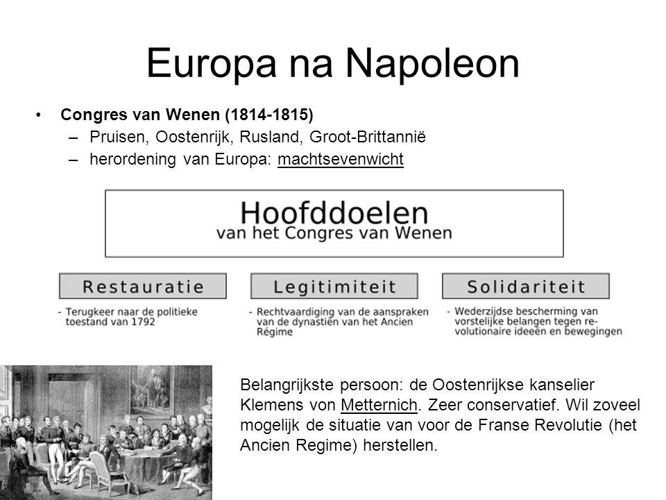 Europa na Napoleon Congres van Wenen (1814-1815) –Pruisen, Oostenrijk, Rusland, Groot-Brittannië –herordening van Europa: machtsevenwicht Belangrijkst