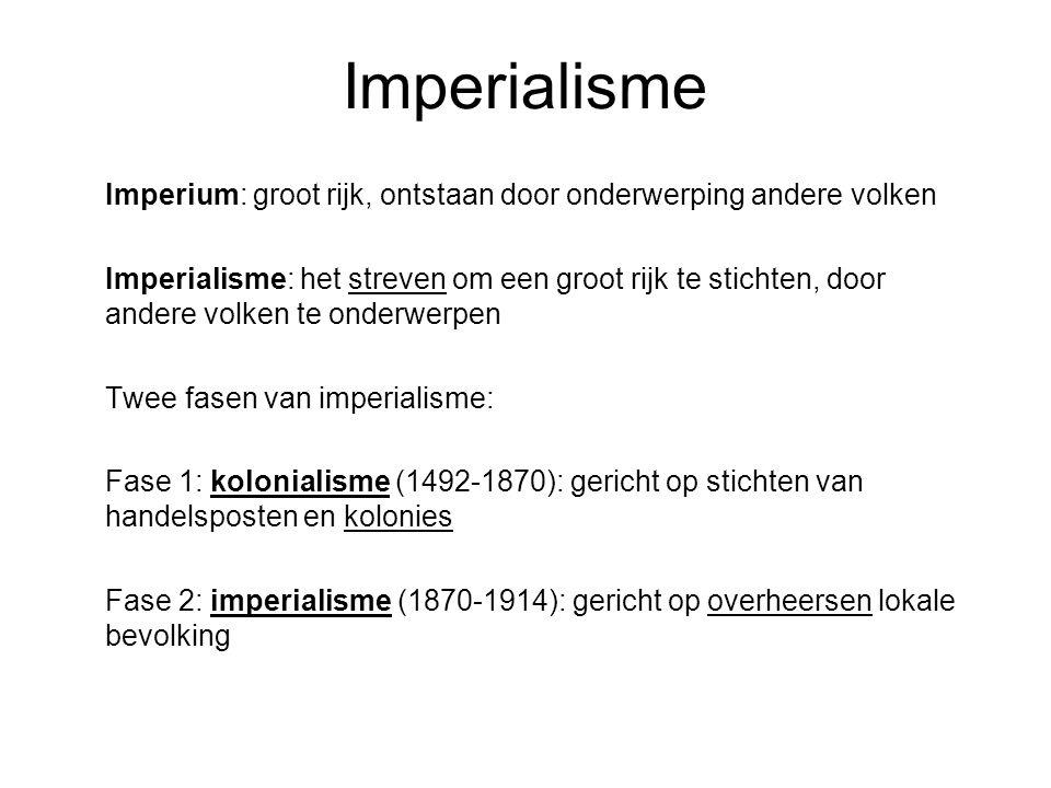 Imperialisme Imperium: groot rijk, ontstaan door onderwerping andere volken Imperialisme: het streven om een groot rijk te stichten, door andere volke