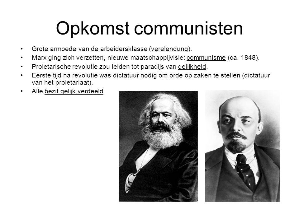 Opkomst communisten Grote armoede van de arbeidersklasse (verelendung). Marx ging zich verzetten, nieuwe maatschappijvisie: communisme (ca. 1848). Pro