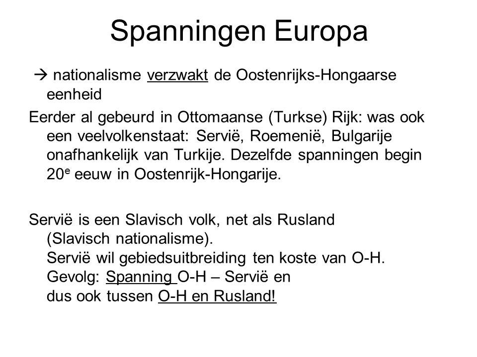 Spanningen Europa  nationalisme verzwakt de Oostenrijks-Hongaarse eenheid Eerder al gebeurd in Ottomaanse (Turkse) Rijk: was ook een veelvolkenstaat: