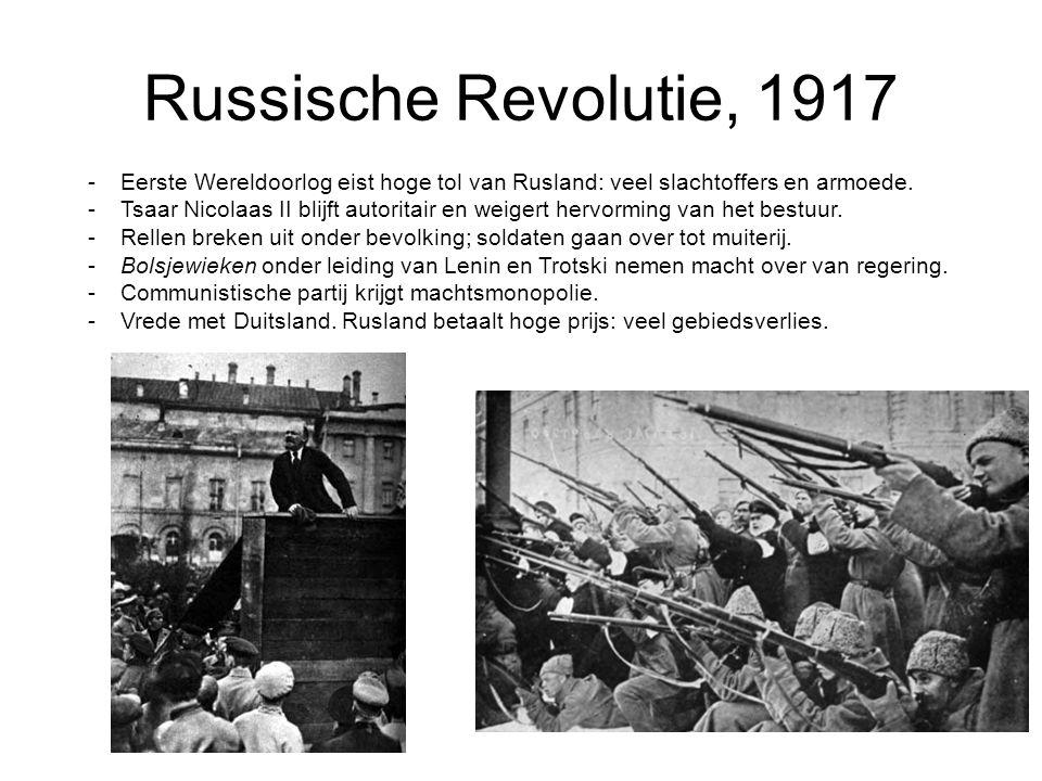 Russische Revolutie, 1917 -Eerste Wereldoorlog eist hoge tol van Rusland: veel slachtoffers en armoede. -Tsaar Nicolaas II blijft autoritair en weiger