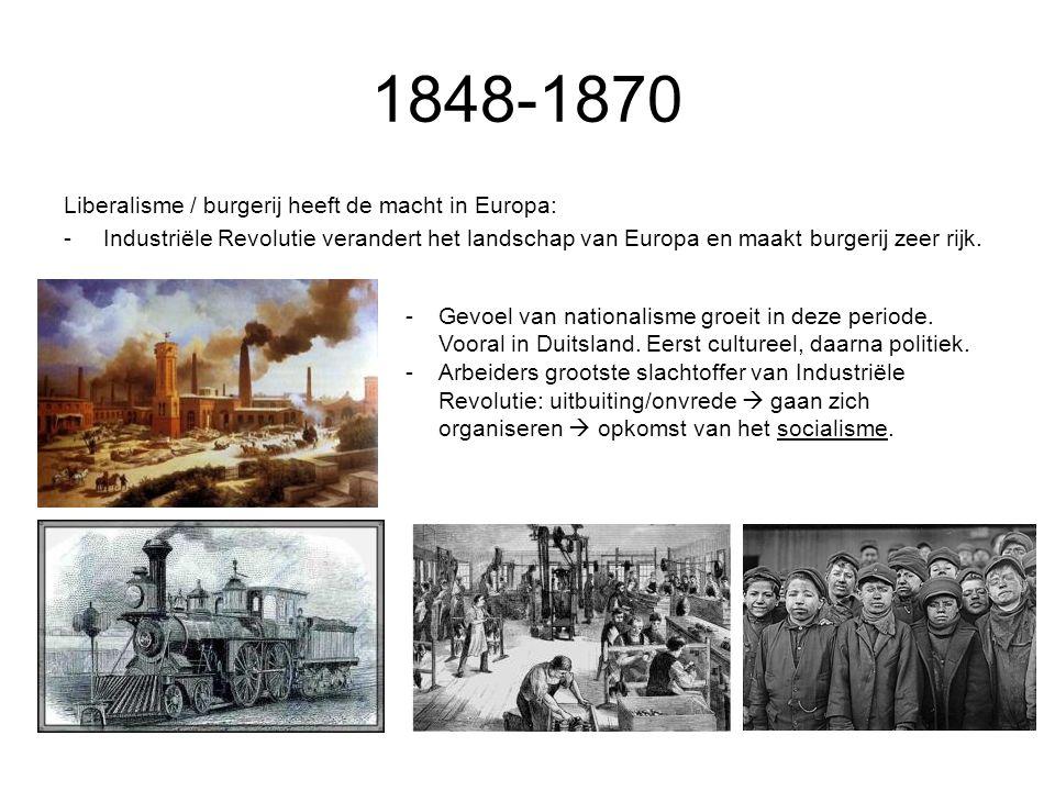 1848-1870 Liberalisme / burgerij heeft de macht in Europa: -Industriële Revolutie verandert het landschap van Europa en maakt burgerij zeer rijk. -Gev