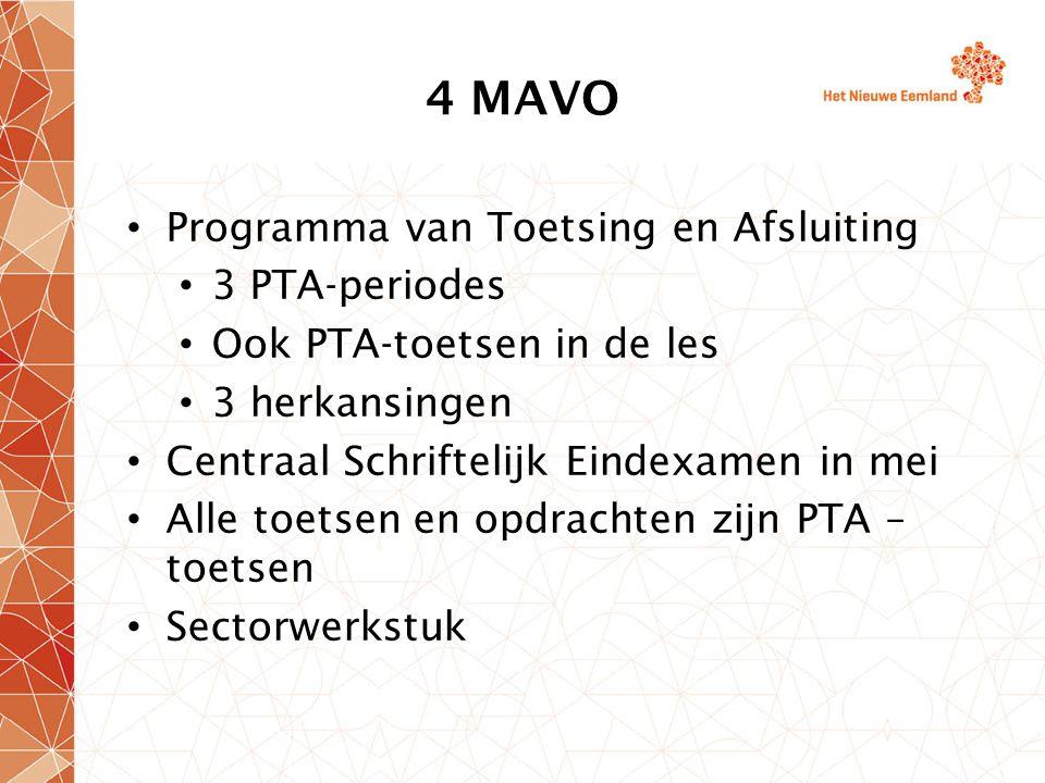 4 MAVO Programma van Toetsing en Afsluiting 3 PTA-periodes Ook PTA-toetsen in de les 3 herkansingen Centraal Schriftelijk Eindexamen in mei Alle toetsen en opdrachten zijn PTA – toetsen Sectorwerkstuk
