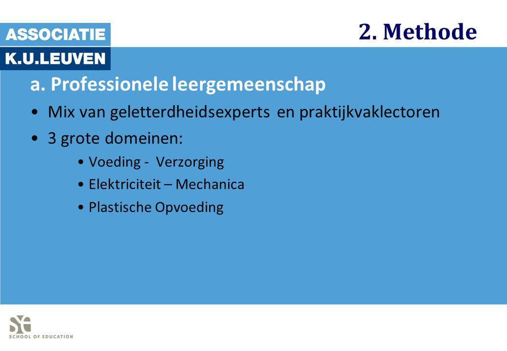 2. Methode a. Professionele leergemeenschap Mix van geletterdheidsexperts en praktijkvaklectoren 3 grote domeinen: Voeding - Verzorging Elektriciteit