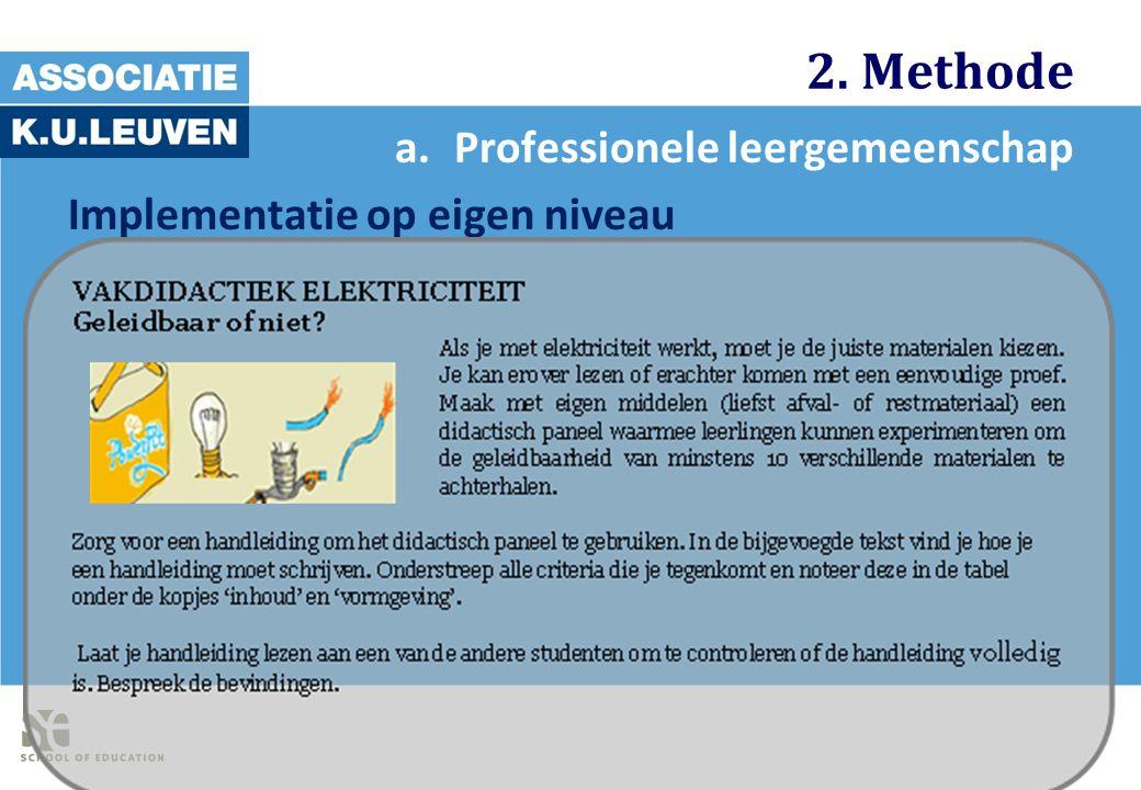 2. Methode a.Professionele leergemeenschap Implementatie op eigen niveau