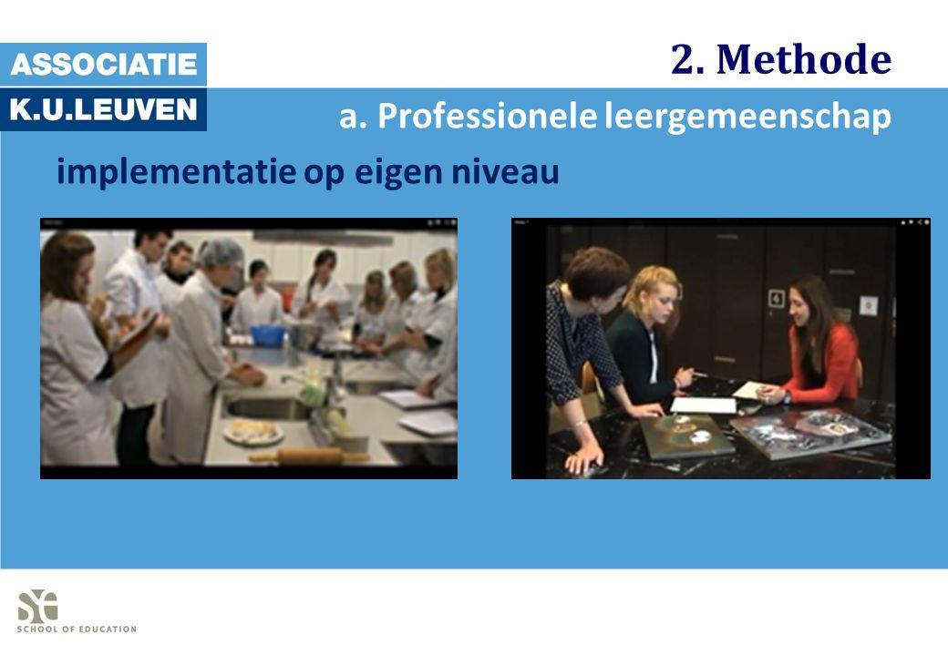 2. Methode a. Professionele leergemeenschap implementatie op eigen niveau