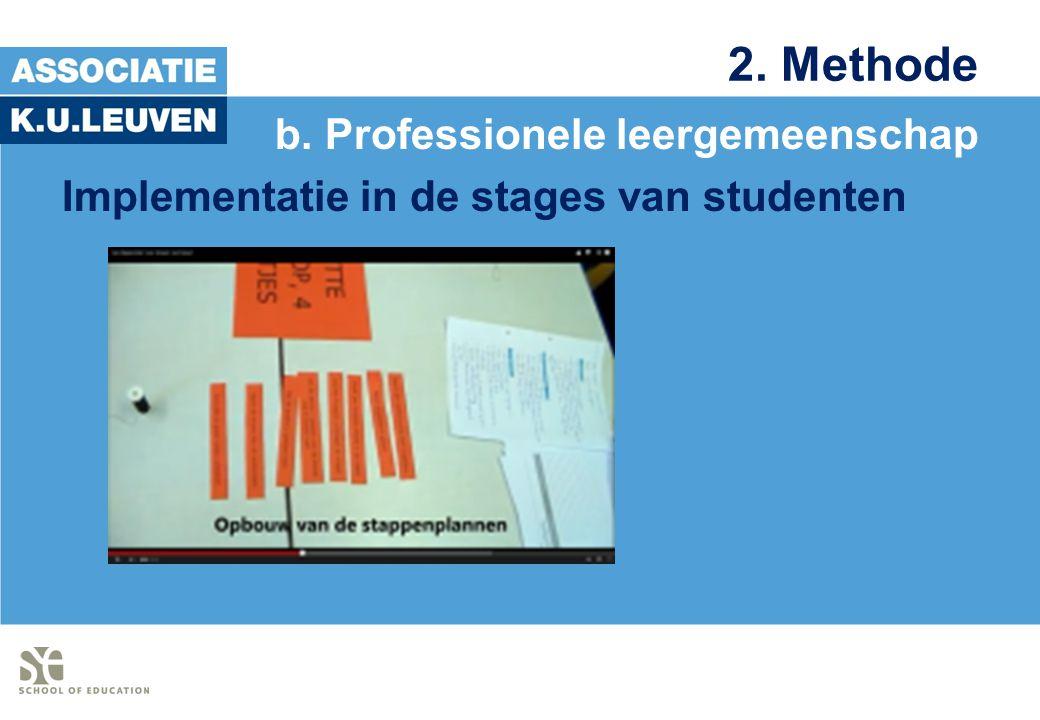 2. Methode b. Professionele leergemeenschap Implementatie in de stages van studenten