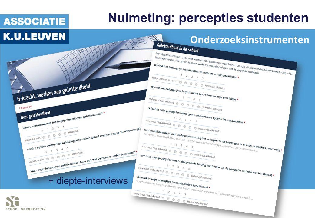 Nulmeting: percepties studenten + diepte-interviews Onderzoeksinstrumenten