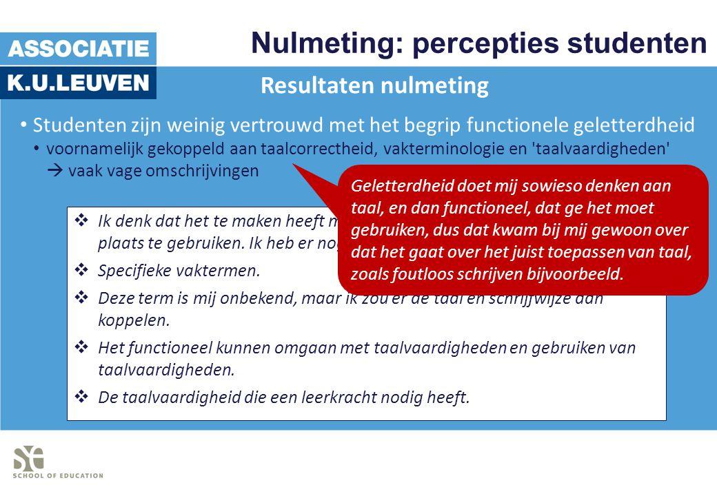 Nulmeting: percepties studenten Resultaten nulmeting Studenten zijn weinig vertrouwd met het begrip functionele geletterdheid voornamelijk gekoppeld a