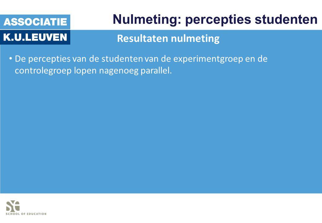 Nulmeting: percepties studenten Resultaten nulmeting De percepties van de studenten van de experimentgroep en de controlegroep lopen nagenoeg parallel