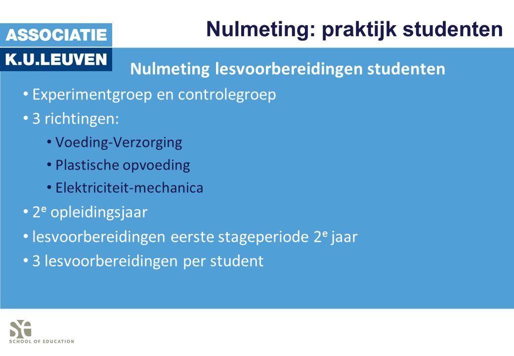Nulmeting: praktijk studenten Nulmeting lesvoorbereidingen studenten Experimentgroep en controlegroep 3 richtingen: Voeding-Verzorging Plastische opvo