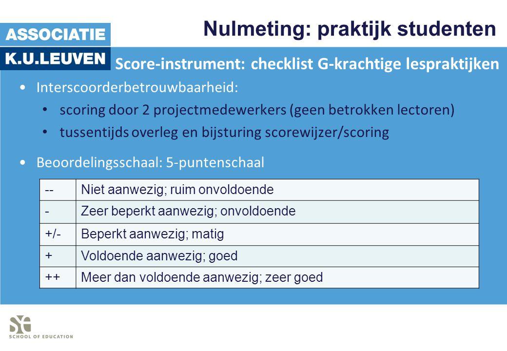 Nulmeting: praktijk studenten Score-instrument: checklist G-krachtige lespraktijken Interscoorderbetrouwbaarheid: scoring door 2 projectmedewerkers (g