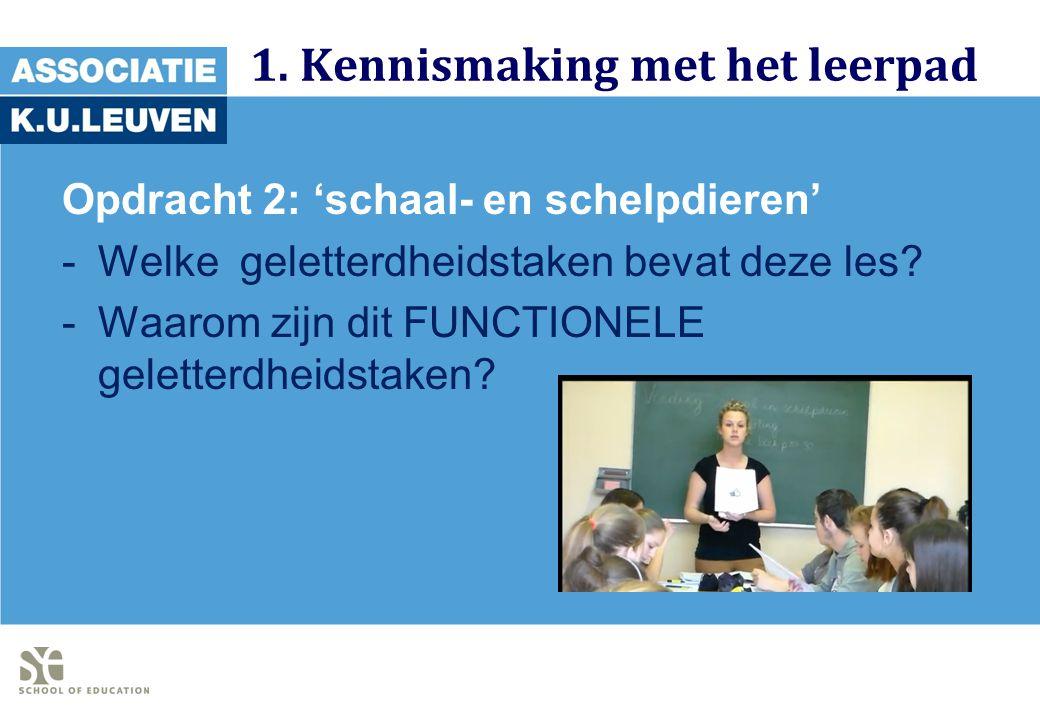 1. Kennismaking met het leerpad Opdracht 2: 'schaal- en schelpdieren' -Welke geletterdheidstaken bevat deze les? -Waarom zijn dit FUNCTIONELE geletter