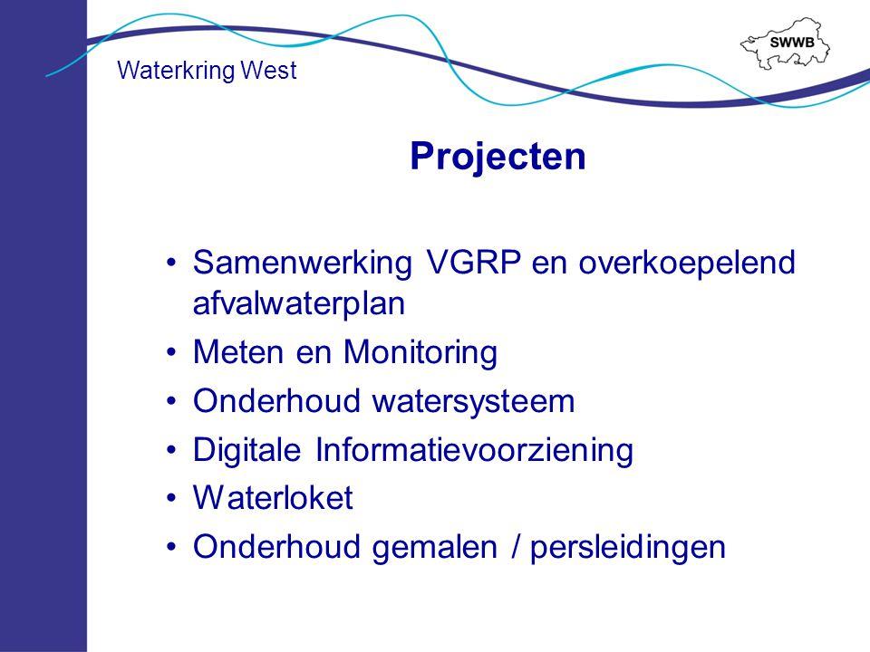 Projecten Samenwerking VGRP en overkoepelend afvalwaterplan Meten en Monitoring Onderhoud watersysteem Digitale Informatievoorziening Waterloket Onder