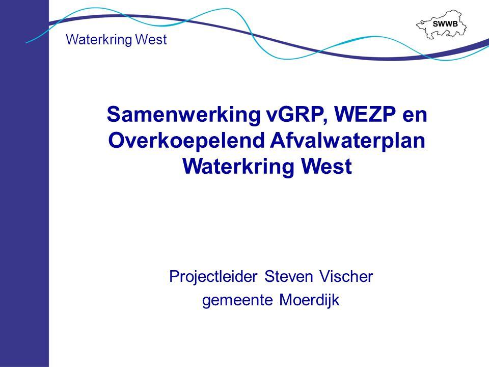 Projectleider Steven Vischer gemeente Moerdijk Samenwerking vGRP, WEZP en Overkoepelend Afvalwaterplan Waterkring West