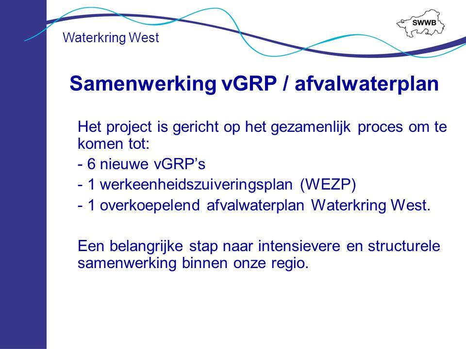 Het project is gericht op het gezamenlijk proces om te komen tot: - 6 nieuwe vGRP's - 1 werkeenheidszuiveringsplan (WEZP) - 1 overkoepelend afvalwater