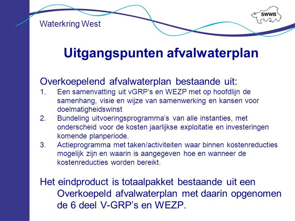 Waterkring West Overkoepelend afvalwaterplan bestaande uit: 1.Een samenvatting uit vGRP's en WEZP met op hoofdlijn de samenhang, visie en wijze van sa