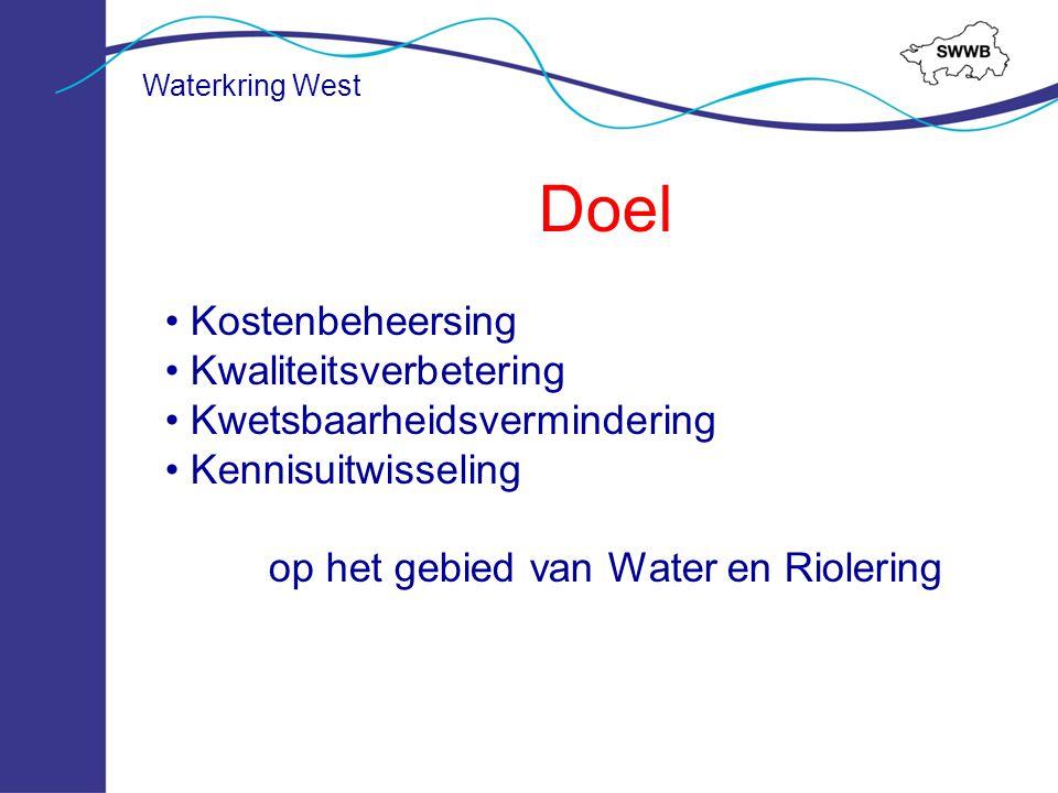 Waterkring West Opstellen regionaal gezamenlijke beleid en ambities Zoeken/ afstemmen van beleidsuitgangspunten en Best Practices Gezamenlijk leren en doorlopen van proces Kostenbesparing (bij planvorming) Integratie vGRP met WEZP en Afvalwaterplan (o.b.v.