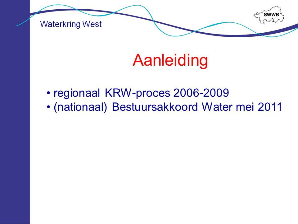 Ontstaan 6 oktober 2010 Vorming SWWB 24 november 2011 Intentieverklaring Waterkring West Zomer 2013 Samenwerkingsovereenkomst Waterkring West