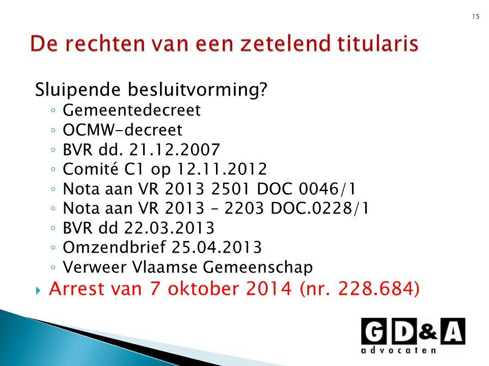 Sluipende besluitvorming? ◦ Gemeentedecreet ◦ OCMW-decreet ◦ BVR dd. 21.12.2007 ◦ Comité C1 op 12.11.2012 ◦ Nota aan VR 2013 2501 DOC 0046/1 ◦ Nota aa