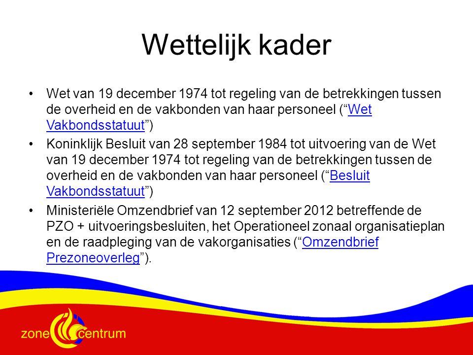 """Wettelijk kader Wet van 19 december 1974 tot regeling van de betrekkingen tussen de overheid en de vakbonden van haar personeel (""""Wet Vakbondsstatuut"""""""