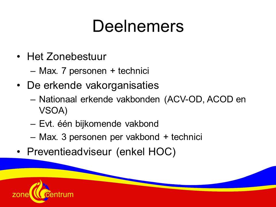 Deelnemers Het Zonebestuur –Max. 7 personen + technici De erkende vakorganisaties –Nationaal erkende vakbonden (ACV-OD, ACOD en VSOA) –Evt. één bijkom