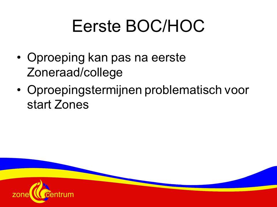Eerste BOC/HOC Oproeping kan pas na eerste Zoneraad/college Oproepingstermijnen problematisch voor start Zones